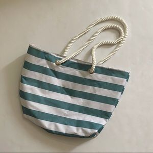 Blue and White Stripped Tote with Rope Handles